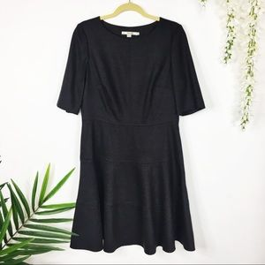 BODEN fit & flare dress wool blend charcoal 0520